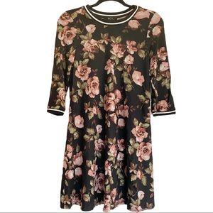 NWOT BCX Black Floral 3/4 Sleeve Knit Dress Small